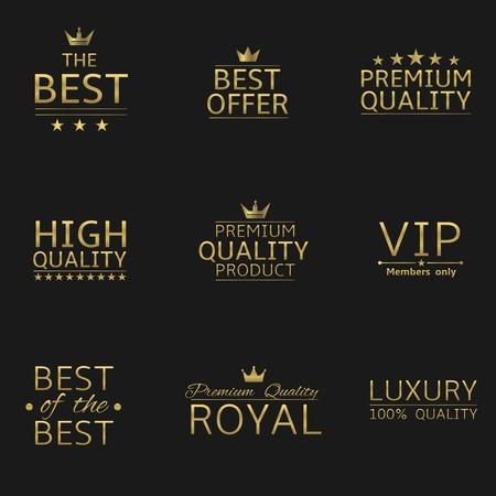 slogan: Golden logo set. Slogan for your company