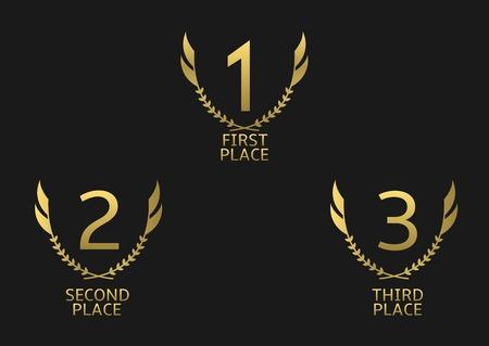 Gouden award set. Ten eerste, tweede en derde plaats pictogrammen Stock Illustratie