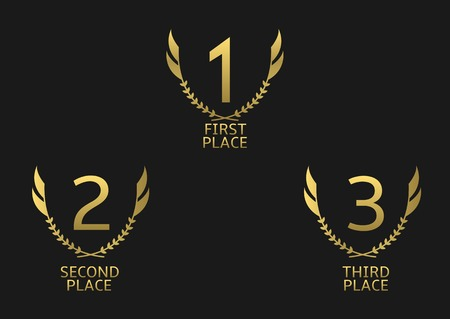 Golden award set. First, second and third place icons Illustration