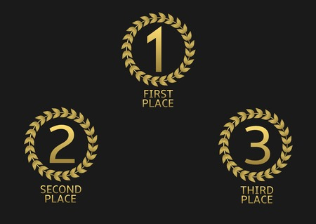 Golden award set. First, second and third place icons Stock Illustratie