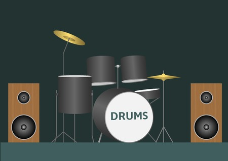 strikken: Drum set. Bass tom-tom ride cymbal crash hi-hat snare stands Stock Illustratie