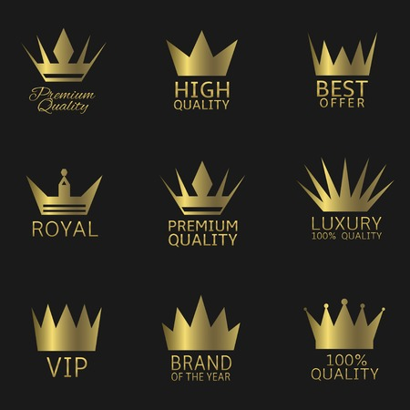 Golden crown award icon set.  Premium Quality Best Offer Luxury Royal VIP