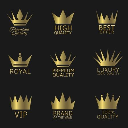 Golden crown award icon set.  Premium Quality Best Offer Luxury Royal VIP