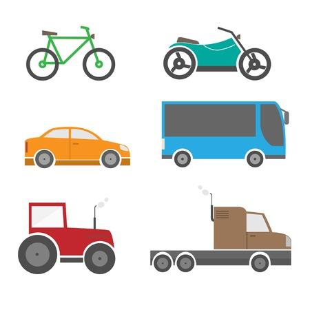 Transport icon set. Bicycle motorbike bus auto tractor van