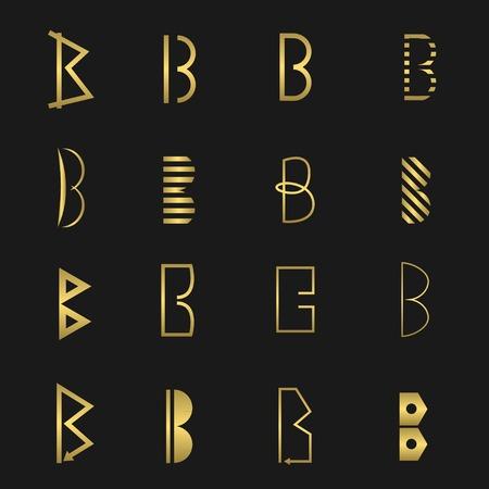 Golden letter B business logo icon set. Vector illustration