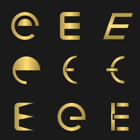 e business: Golden letter E business icon set. Vector illustration Illustration