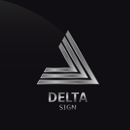 delta: Silver metallic delta sign logo. Vector illustration