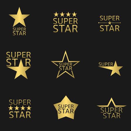 황금 슈퍼 스타 로고 아이콘을 설정합니다. 벡터 일러스트 레이 션 일러스트