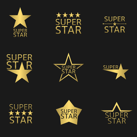 Golden logo icon super ster te stellen. vector illustratie Stock Illustratie
