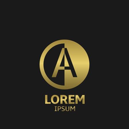 Gouden brief Een logo sjabloon. Vector illustratie