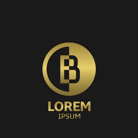 Golden letter B logo template. Vector illustration