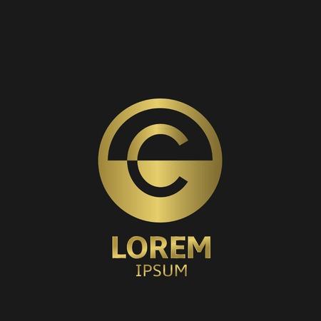 Golden letter C logo template. Vector illustration