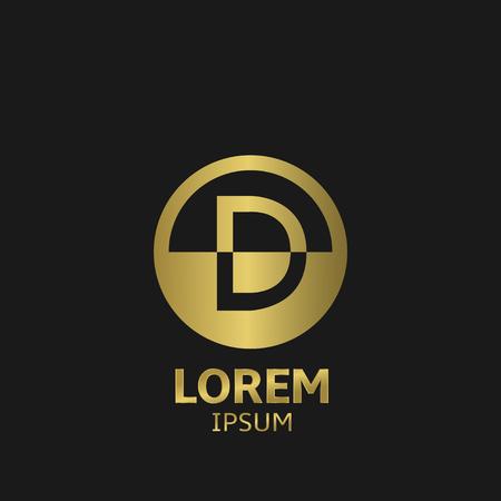 d: Golden letter D logo template. Vector illustration
