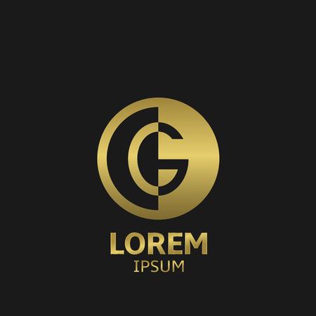 Golden letter G logo template. Vector illustration
