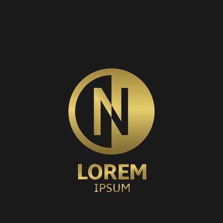 Golden letter N logo template. Vector illustration