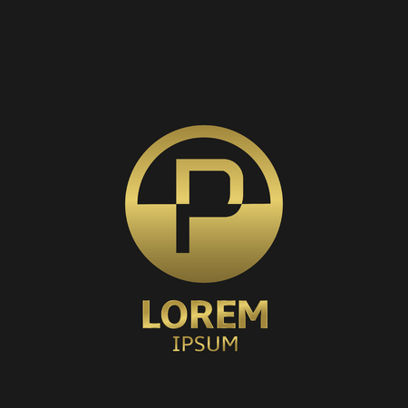 letter p: Golden letter P logo template. Vector illustration