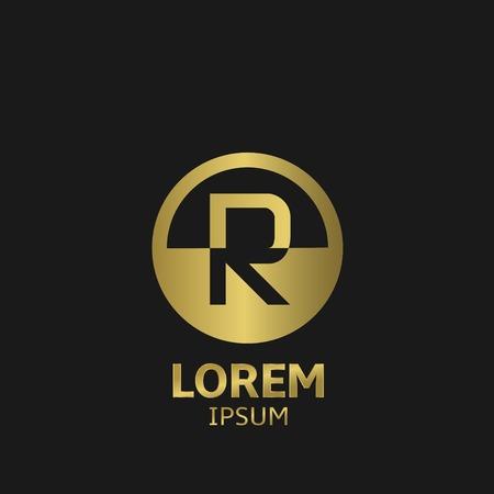 Golden letter R logo template. vector illustratie Stock Illustratie