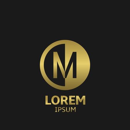 黄金文字 M のロゴのテンプレート。ベクトル図