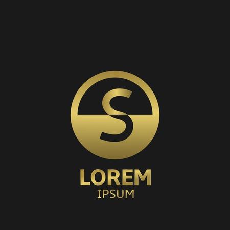 Golden letter S logo template. Vector illustration