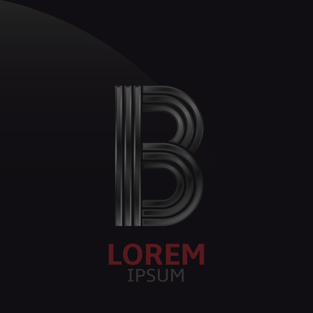 metal noir: Black metal letter B template. Dark steel alphabet Illustration