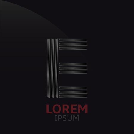 metal noir: Black metal letter E  logo template. Dark steel alphabet Illustration