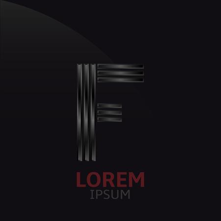 metal noir: Lettre de m�tal noir F mod�le. Alphabet en acier fonc�