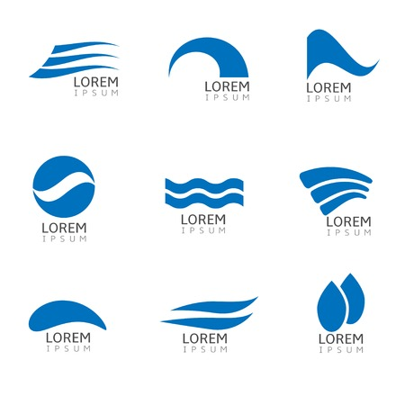 Abstract Blue Water drop logo icon set. Vector illustration