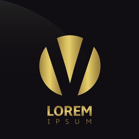 Golden letter V logo icon, symbol for company