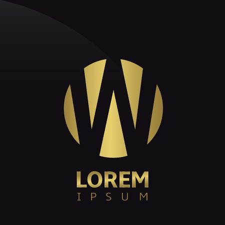 Golden letter W logo icon, symbol for company