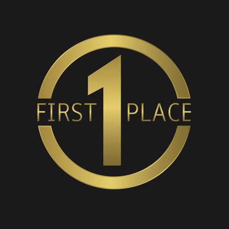 primer lugar: Etiqueta Oro Premio Primer Lugar. Ilustración vectorial