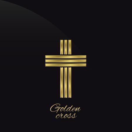 mormon: Golden cross on the black background. Vector illustration