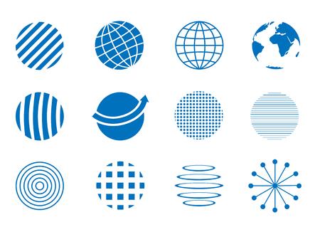 ideas: Blue Globe icon set, earth symbols. Communication concept