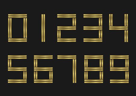 0 1 year: Golden number set. Zero One Two Three Four Five Six Seven Eight Nine symbols