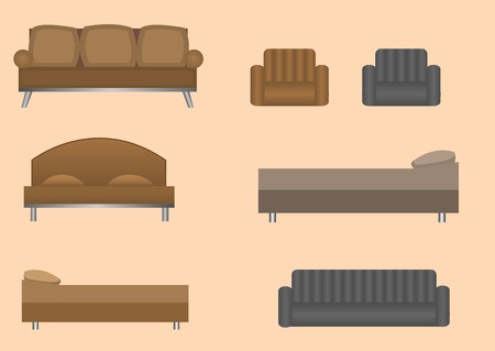 comfort: Wooden comfort retro furniture set. Sofa, bed and armchair icons Illustration