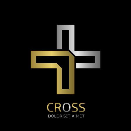 christian: Abstract cross symbol with silver and gold elements. Religion or medicine concept