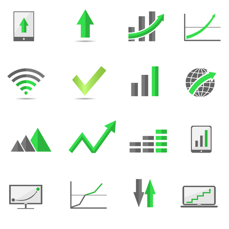 Green Growth arrow icon set. Financial or economic graphs and diagrams