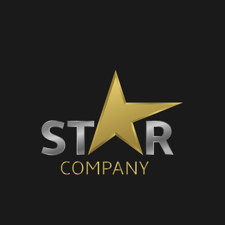 construction companies: Golden star business for company. Vector illustration