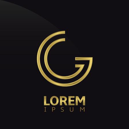 Gouden creatief abstract letter G template. vector illustratie