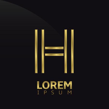 Golden creatieve abstracte letter H sjabloon. vector illustratie