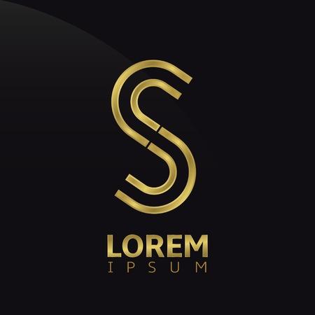 letras de oro: Creativa de oro carta abstracta plantilla S logotipo. Ilustración vectorial