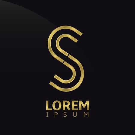 metal letters: Golden creative abstract letter S logo template. Vector illustration