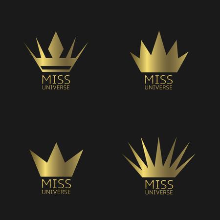 miss: Miss Universe award icon set. Golden crown symbols Illustration