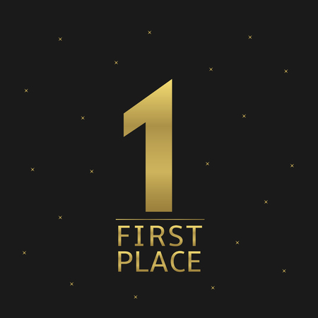 rewarding: Golden First place award icon for rewarding ceremony. Business or sport concept