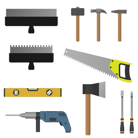 Set of tools. Putty knife  hammer screwdriver saw axe and drill