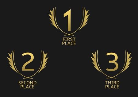 achieve: First, second and third place icons. Golden award symbol set Illustration