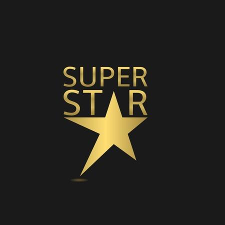 super star: Golden super star logo icon. Vector illustration Illustration
