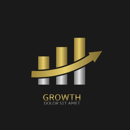 advantages: Growth business icon with golden and silver elements. Increase growth profit success positive superprofit symbol