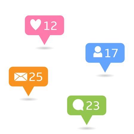 소셜 네트워크 아이콘을 설정합니다. 심장 친구 주석 기호 같은 메시지 스톡 콘텐츠 - 46607488