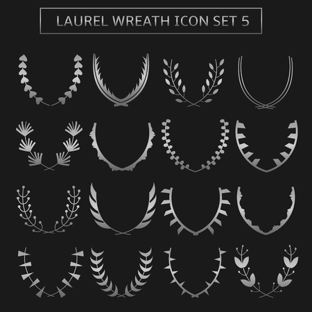 olive branch: Silver Metallic Laurel Wreath icon set. Victory champion triumph success winner symbols Illustration