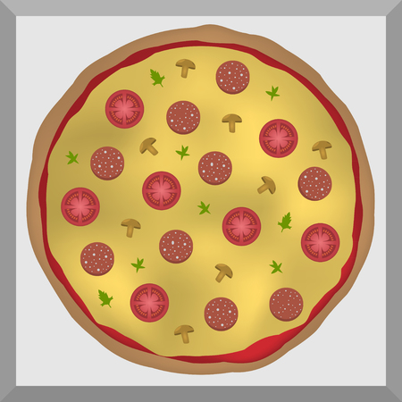 italian sausage: Italian Pizza with tomatoes cheese  sausage mushrooms parsley and ketchup in the cardboard Illustration